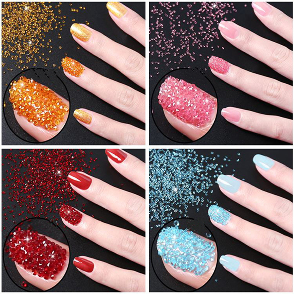 1.1mm 1440pcs New Arrive Round Cubic Beauty Glitter Glass Copy Zirconia Stones AAA Grade For 3D Nails Art Design Decoration