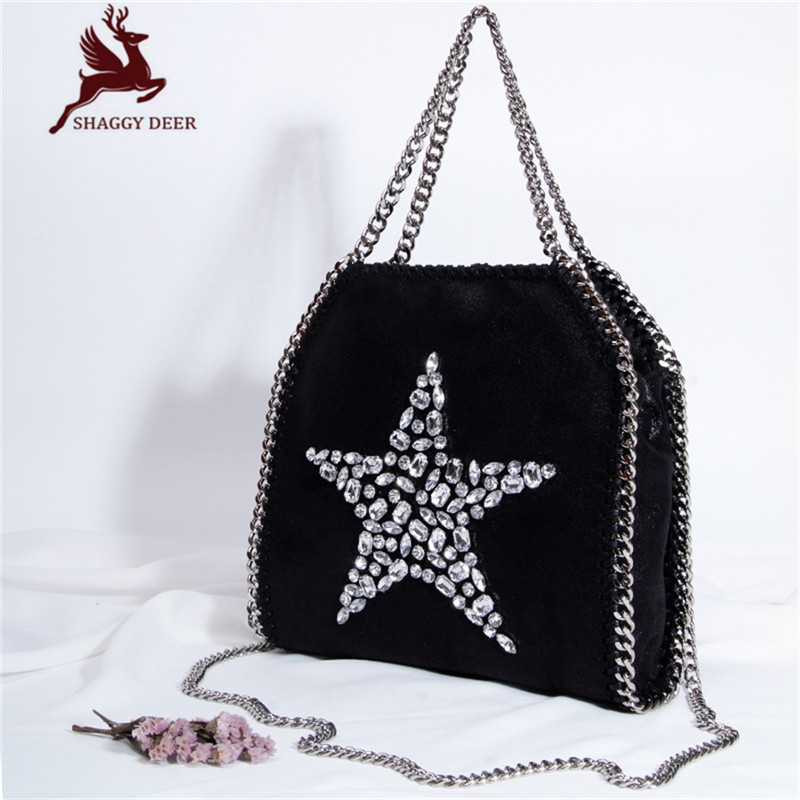 25cm Small Luxury Shaggy Deer PVC Star Rhinestones Stella Chain Bag Real Picture Steel Chain Shoulder Chain Bag mini gray shaggy deer pvc quilted chain bag with cover real picture