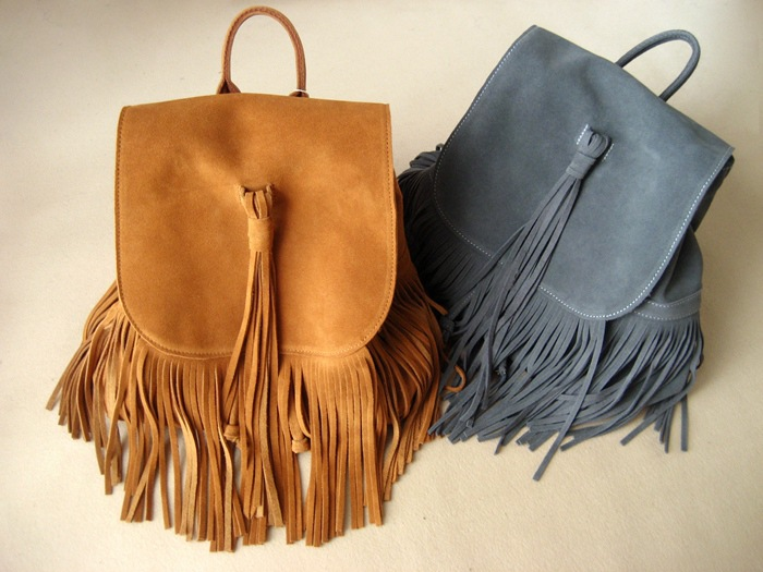 Suede leather fashion tassel large capacity women backpack high quality