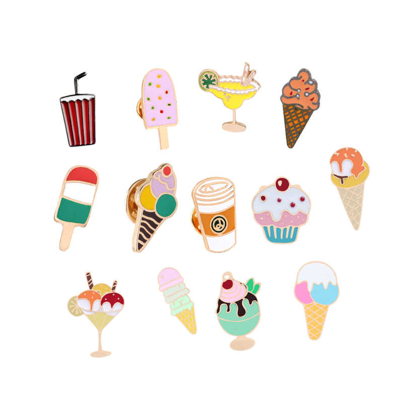 Nette Dessert Emaille Pins Eis Cola Kuchen Popsicle Cartoon Brosche für Frauen Mädchen Denim Hemd Revers Pin Schöne Abzeichen schmuck