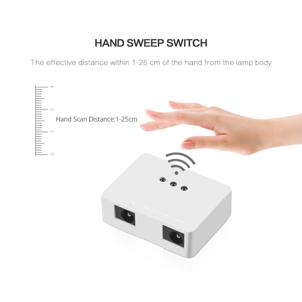 Image 5 - Dimmable Sensor Switch Hand Wave Dimmer 5A 12V/24V Motion Switch for LED Strip LED Lamp Kitchen Cabinet LED Lights Accessories-in Switches from Lights & Lighting