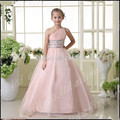2016  New A-line Pink Hot Sale Ball Gown  Beads Organza Flower Girl Kids Pageant Dresses Wedding Prom Dresses Custom Made
