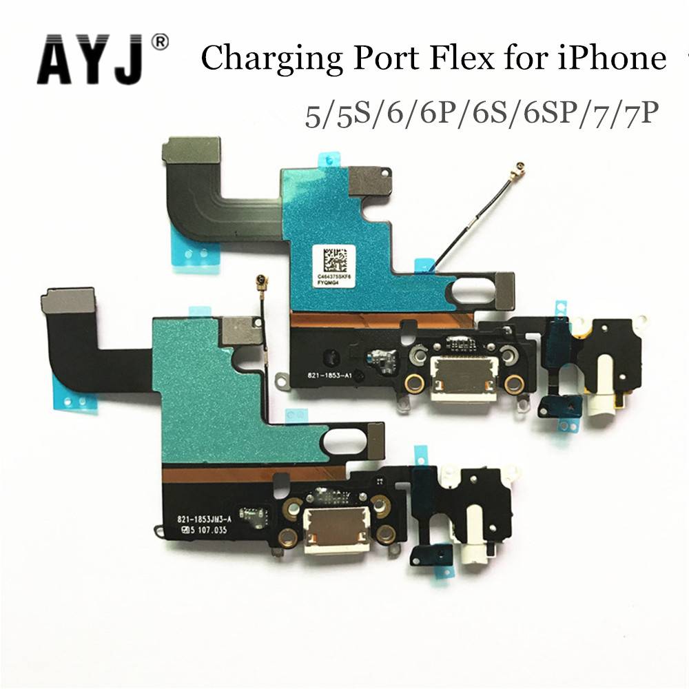 AYJ USB Charging Dock <font><b>Connector</b></font> for <font><b>iPhone</b></font> 5 5S 6 <font><b>6S</b></font> 7 Plus 4.7 5.5 Headphone Audio Jack Charger Port Flex Cable image
