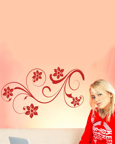 Lovely Floral Design Red Flower Wall Sticker Girls Room Living Room Decor  Wall Art(China