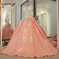 Ls65479 длинные элегантные платья для выпускного вечера кристаллы Топ Vestidos De Festa Vestido Longo; Para Casamento персикового цвета 100% настоящая фотография