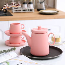 800ml Nordic Minimalism  Coffee Pot Matte Ceramic Red Teapot Teaset Kettle 6 Colors Simple Afternoon Tea