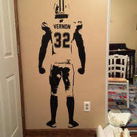 Wall art Football Wall Decal Decor Custom jersey name and number Vinyl sticker American football Player personalzied Decal
