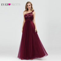 Burgundy Evening Dresses Ever Pretty EP07446 Elegant A line Tulle One shoulder Sleeveless Sequined Long Party Gowns Robe Soiree