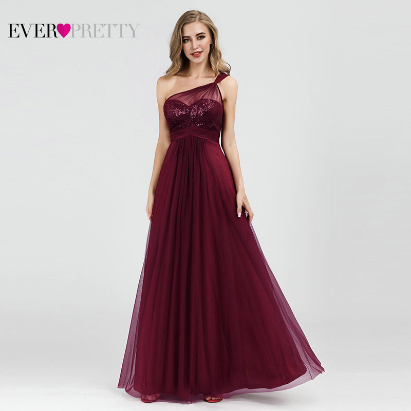 Burgundy   Evening     Dresses   Ever Pretty EP07446 Elegant A-line Tulle One-shoulder Sleeveless Sequined Long Party Gowns Robe Soiree