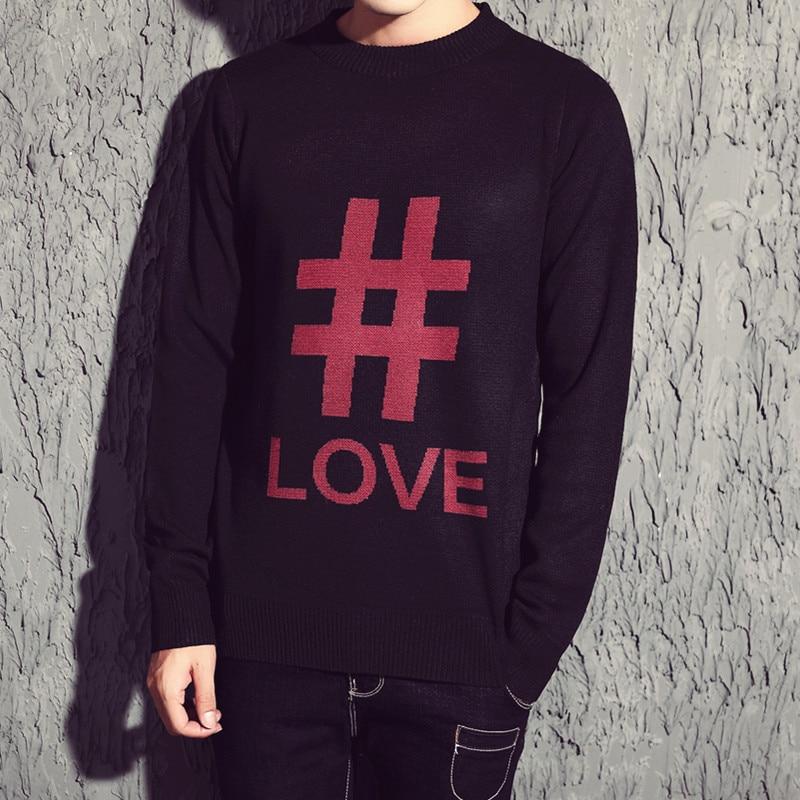 Hommes 2017 Pull Red Nouvelle Mince Automne De Casual Mode Classique Amour Hiver bai Chandail Marque Coton Vêtements O Impression cou tqBZrtAxn