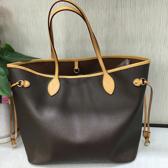 Excellent Quality Neverful Bag Women Shopping Bag Luxury Brand Monogrom Never Shoulder Bag Canvas Leather Full Handbags MM/GM