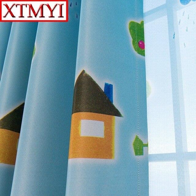 Finestra matita Soggiorno Tende Camera Dei Ragazzi Del Fumetto Dei Bambini Blu Tende Pura Bambino Tenda Camera Da Letto Per Bambini