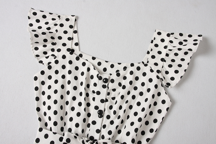 ALPHALMODA 18 New Polka Dot Shirt Pocket Dress Petal Sleeve Single Breasted Slim Sashes Women Fashion Summer Vestidos 19