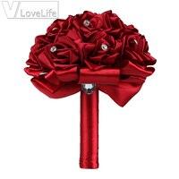 Zarif El Yapımı Düğün buket çiçek Yapay Gül Vecize Buketi Kristal Saten Rinbow Nedime Düğün Buketi Dekor