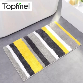 Topfinel Rug Bath Mat Quatrefoil Striped Antiskid Soft Carpet Mat for Bathroom Kitchen Living Room Kids Room Modern Floor Mat bohemian floral antiskid bath rug