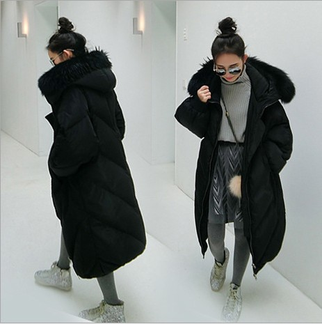 edeb90abf US $74.8 |New black gray women cotton down jackets women's winter coats 90%  cotton down super warm waterproof windproof loose long parkas-in Parkas ...