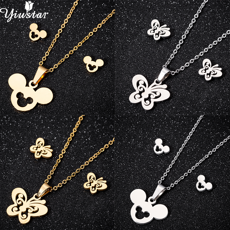 Yiustar Exquisite Butterfuly Stud Earrings Necklace Jewelry Sets for Women Girls Kids Cute Mouse Stainless Steel Mickey Jewelry