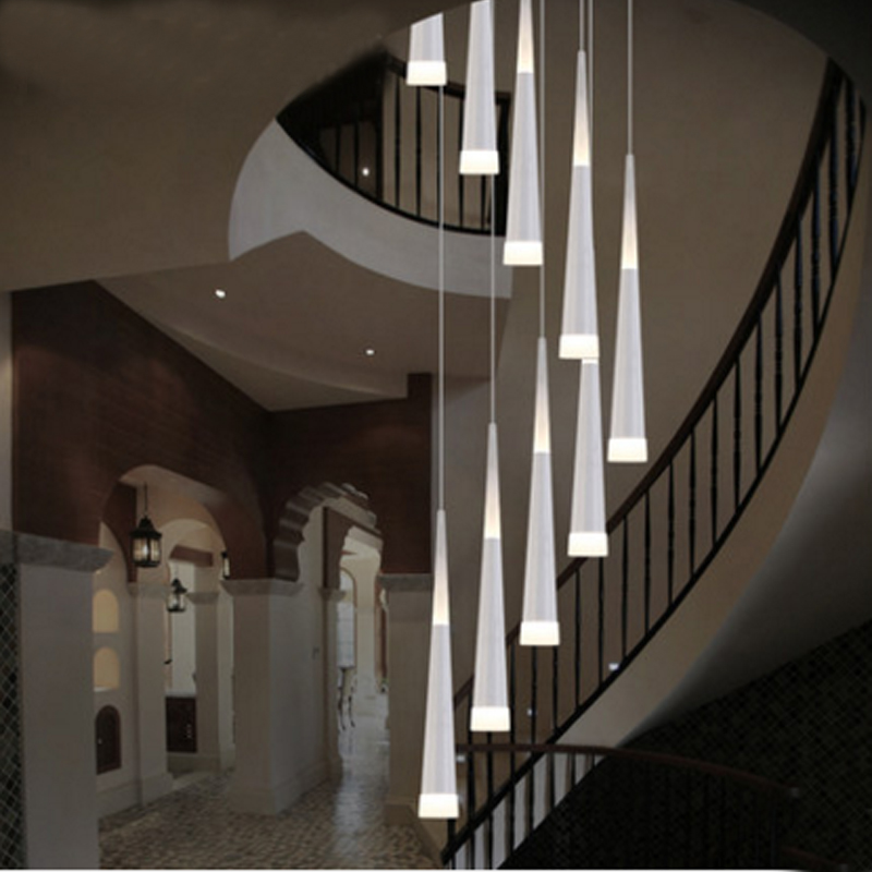 led rain drop lights long spiral chandelier indoor staircase lighting modern staircase lamp spiral lights Aisle Hallway lamps ten second staircase