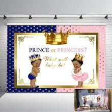 NeoBack Royal Gender Reveal Party Backdrop Pink or Blue Crown Backdrops for Baby Shower Boy Girl Photo Background Banner