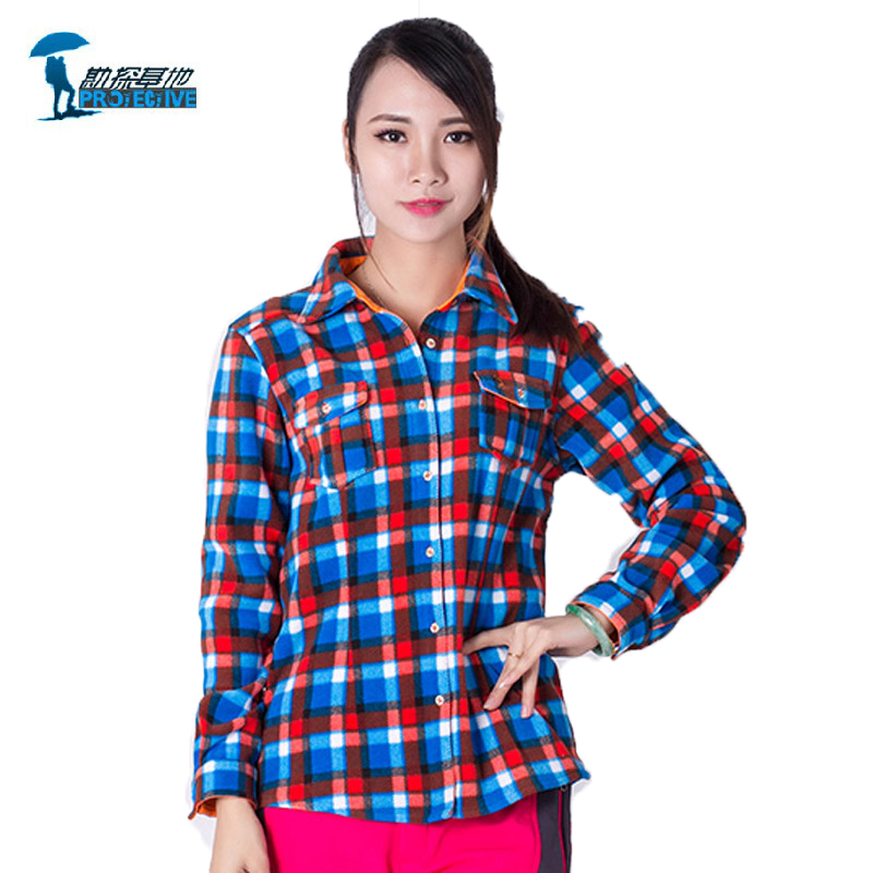 2016 Long-sleeved Plaid Shirt Female Cycling Camping Fishing Tourism Hiking Shirt Breathable Woman Outdoor Sport Shirt plaid embroidered button down shirt