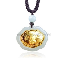 Natural White Hetian Jade + 18K Solid Gold Inlaid Baby Safety Lock Blessing Pendant + free Necklace Fine Jewelry + Certificate