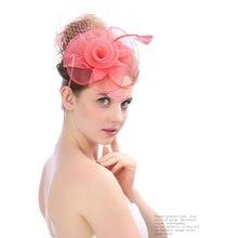 Moda mujeres Fascinator gasa pluma tocado boda accesorios nupciales del  pelo señora elegante velo sombrero de 725e3b9e5d9