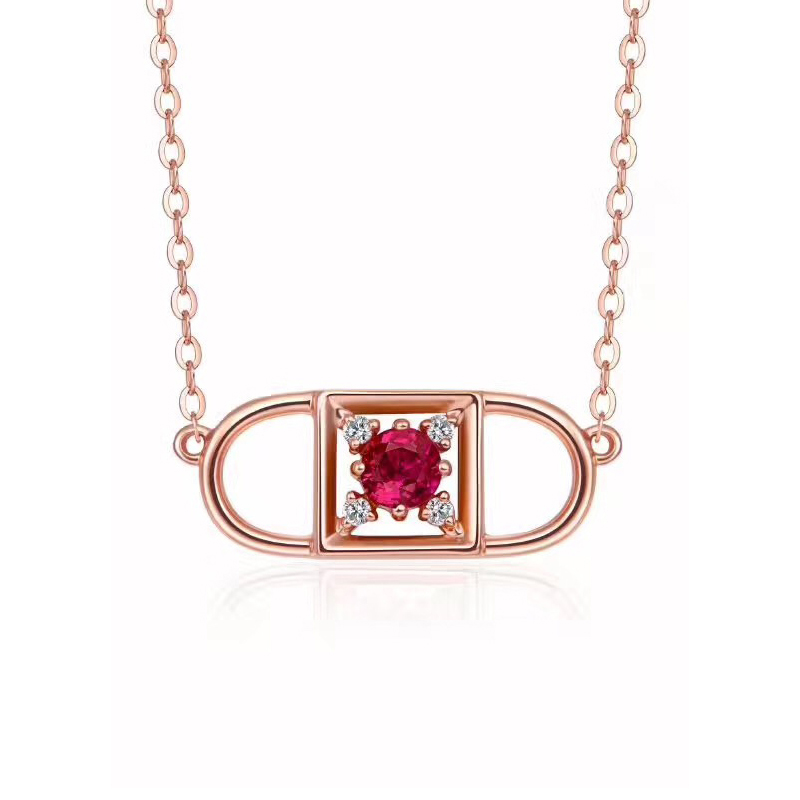 18K gold Natural red tourmaline With diamond Pendant Heart Necklace Pendant. lock love A pendant Three different ways of wearing 18k white gold heart pendant with diamond pendant gold ball diamond necklace female genuine diamond