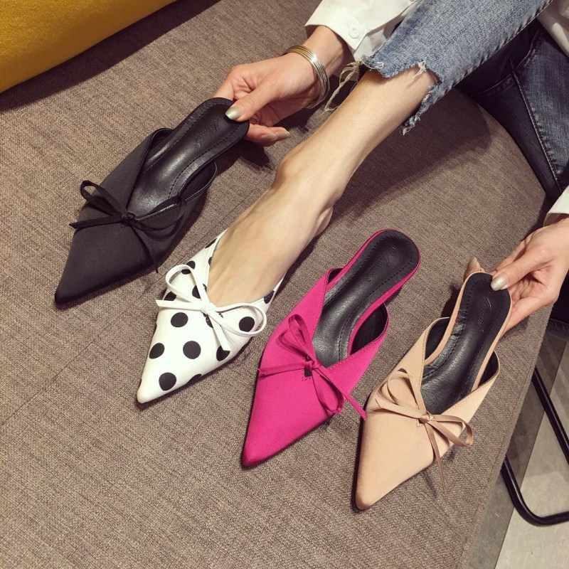 2e7484c4b5a Boussac Polka Dot Kitten Heel Women Mules Sexy Pointed Toe High Heel Women  Pumps Brand Design