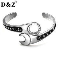 D Z Punk Gothic Silver Color Casting 316L Titanium Stainless Steel Wrench Bracelet For Men Jewelry