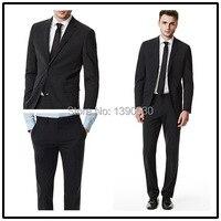 Высокое качество, 100% шерсть, темно серый цвет, с отворотами, с одним отверстием, две пуговицы, два предмета, модные костюмы для мужчин!