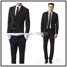 Top Quality 100% wool Dark Charcoal notch lapel single vent two buttons two piece fancy suits for men!!
