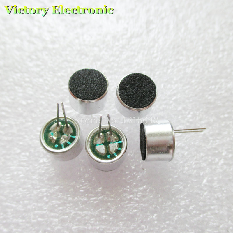 10PCS/Lot 2 Pin 9*7mm 9.5mm Dia MIC Capsule Electret Condenser Pickup Microphone 2 Pin 9*7mm Polar Microphone