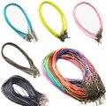 5 Unids/lote 1.5mm Cadenas Collares de Cuero Pulsera Colgante de Los Encantos Con Corchete de la Langosta Resultados de DIY Cuerda Gargantilla Collar