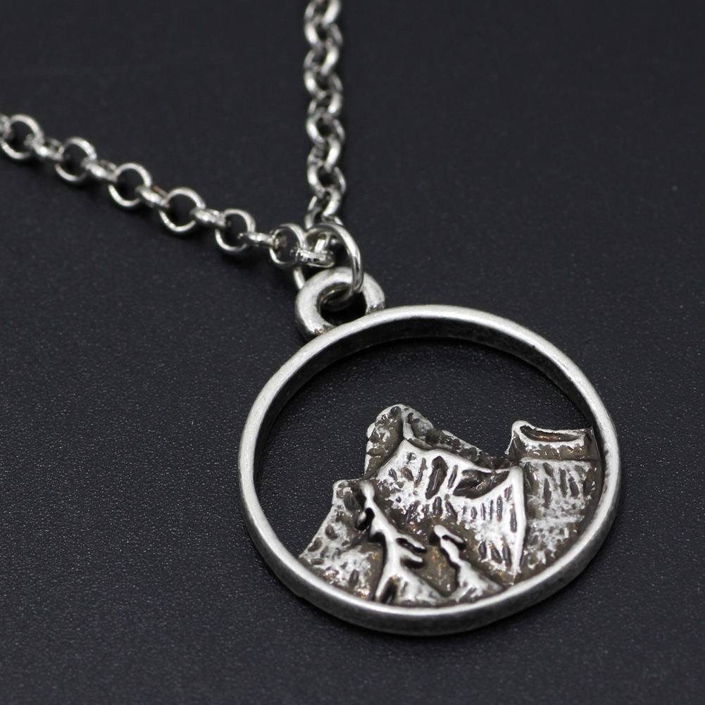 Online Shop Tiny Mountain Charm Necklace Simple Silver Nature ...