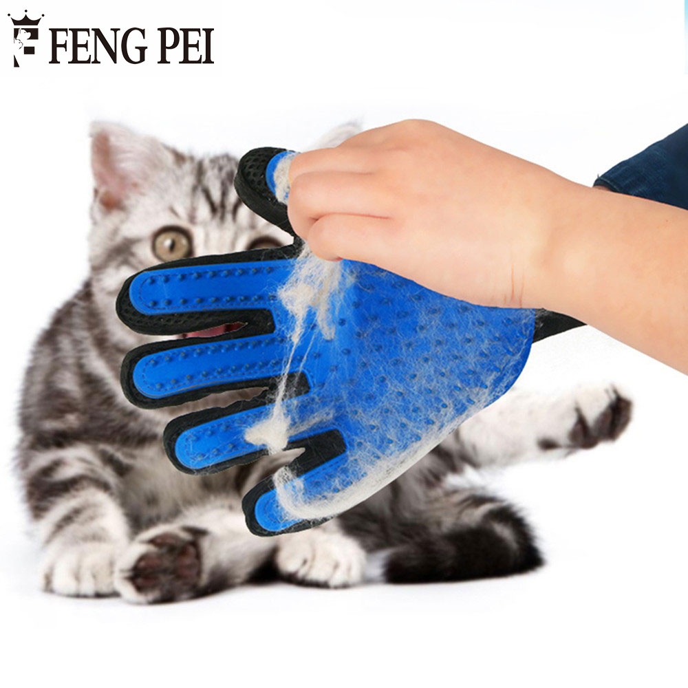 FENG PEI Wholesale 10 pcs/lot Deshedding Brush Glove For Animal Cat Supplies Pet Gloves Hair Comb Finger Glove For Cat Grooming