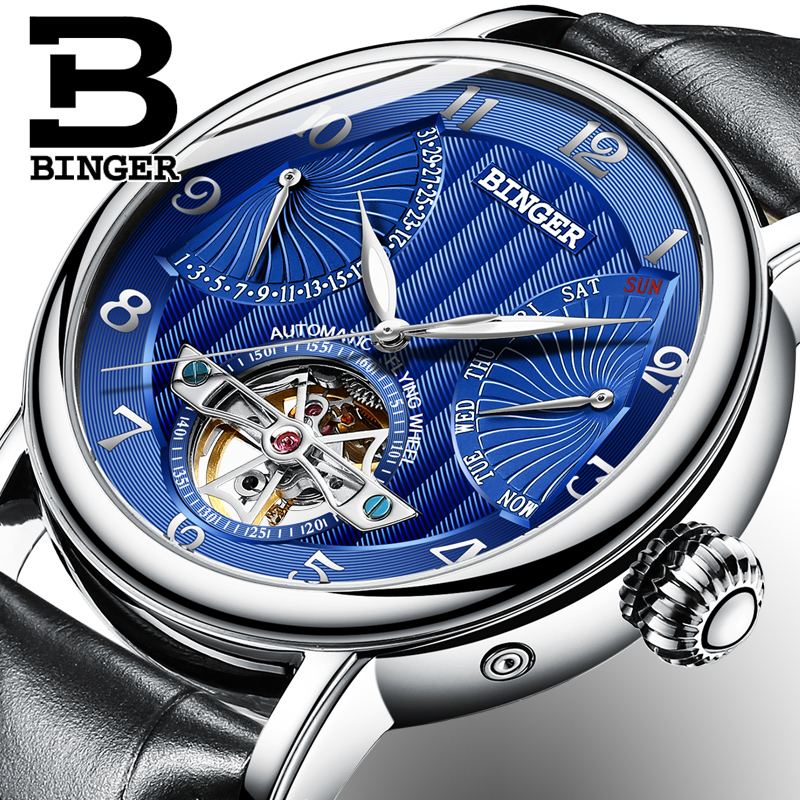 2018 NEW mens watch luxury brand BINGER business sapphire Water Resistant leather strap Mechanical Wristwatches B-1172-32018 NEW mens watch luxury brand BINGER business sapphire Water Resistant leather strap Mechanical Wristwatches B-1172-3