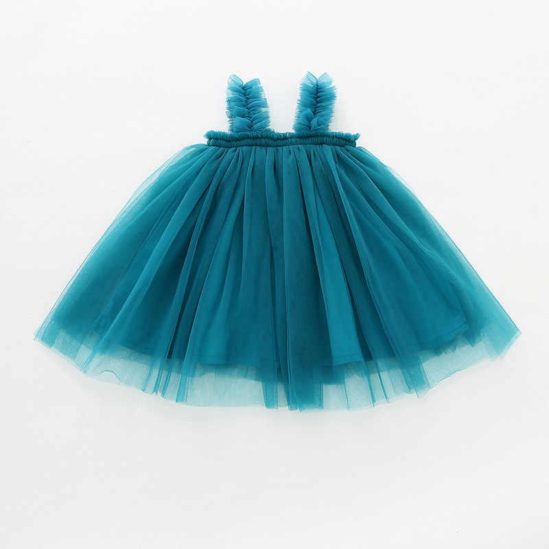 חמוד קיץ תינוק שמלת בנות טול טוטו שמלת Sleeveles Mesh רצועת שמלת בנות נסיכת מסיבת יום הולדת שמלת DQ364