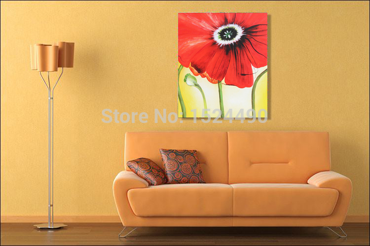 Red Flower Paintings Big Size 100% Hand Painted Flowers Oil Painting ...