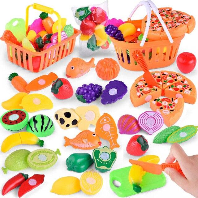 1 conjunto crianças fingir papel jogar casa brinquedo, corte, frutas, plástico, legumes, cozinha, brinquedos, presente, jogo divertido