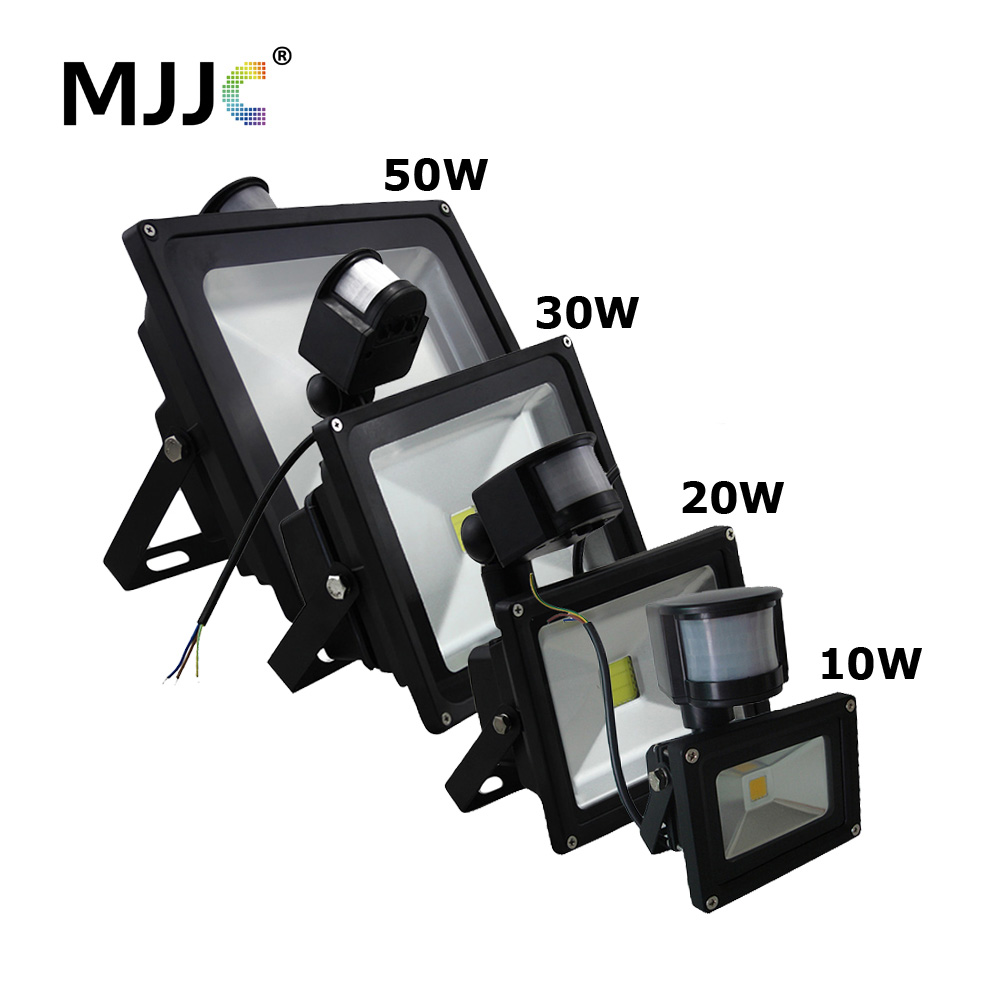 LED Flood Light 10W 20W 30W 50W PIR Outdoor Flood Light LED Waterproof IP65 Lamp 110V 220V Floodlight with Motion Sensor 10w 800lm white flood light projection lamp 220v