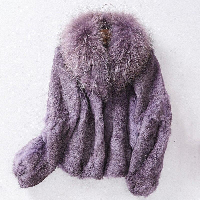 2018 New Lady Winter High Quality Jackets Genuine Full Whole Piece Rabbit Fur Jackets Female Warm Feminino Inverno Winter Coats