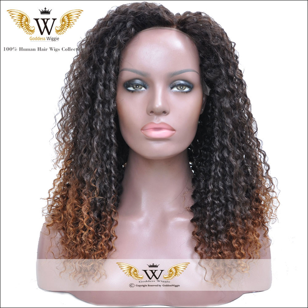 5A Ombre Afro Curly Hair Wig Lace Front Kinky Wig Human ...