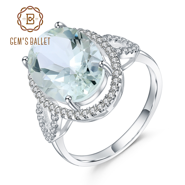 GEMS בלט יוקרה 5.57Ct סגלגל טבעי ירוק Prasiolite חן טבעות 925 כסף טבעת נישואים נשים תכשיטים