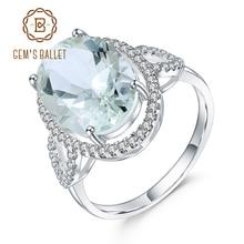 Gems BALLET 럭셔리 5.57Ct 타원형 자연 그린 Prasiolite 보석 반지 여성을위한 925 스털링 실버 결혼 반지 파인 쥬얼리