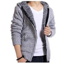 2018 Mens Winter And Autumn Thick Sweater Coats  Plus Velvet Hooded Knit Cardigan Jackets Male Warm Slim Sweater Outwear K525