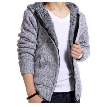 2019 Herren Winter Und Herbst Dicken Pullover Mäntel Plus Samt Mit Kapuze Strickjacke Jacken Männlichen Warme Dünne Strickjacke Outwear K525 Jade Weiß