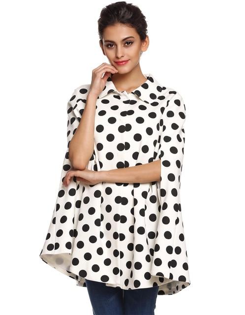 Hot Worldwide Ladies Women Poncho Cape Coat Polka Dot Lapel Outwear Top