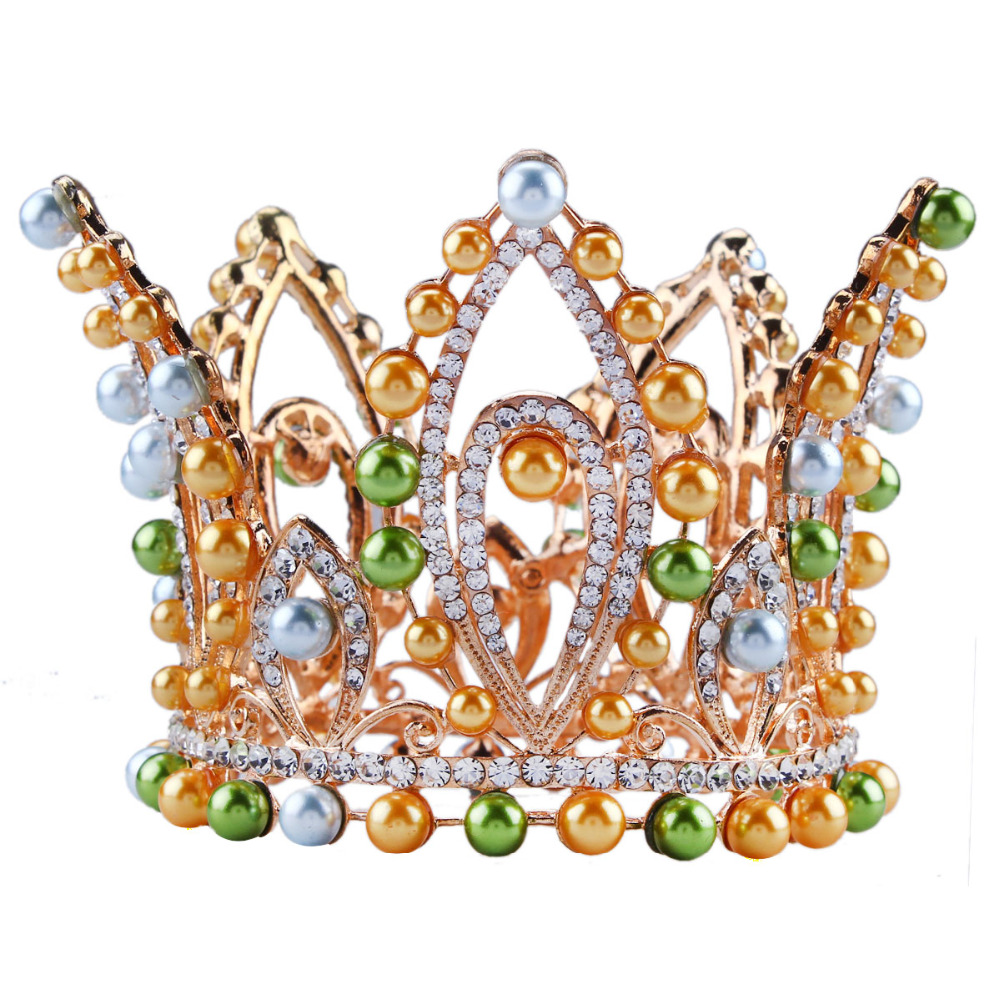 Crowns full circle round tiaras rhinestones crystal wedding bridal - 3 Height Bridal Wedding Beauty Pageant Rhinetone Crystal Faux Pearl Full Circle Round Crown Tiara Princess Headband