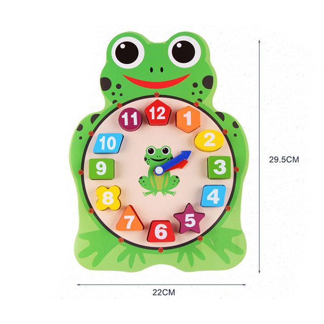 Cartoon Frog Owl Clock Wooden Toys For Children Early Learning Educational Preschool Digital Clock For Toddler MF1164H