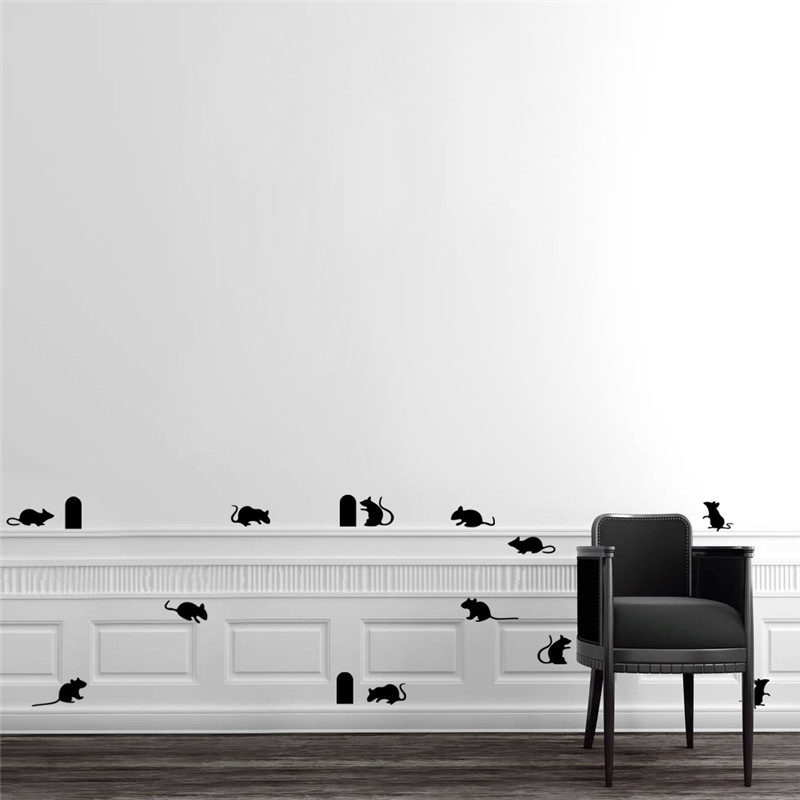 Funny Mouse hole wall stickers creative rat hole cartoon wall stickers bedroom living room mice on Stage home decoration